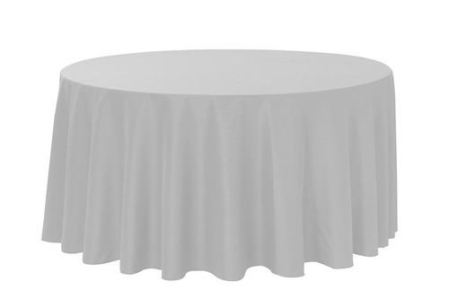 Silver - 120 inch round - Polyester